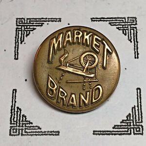 Market Brand ~ Spinning Wheel ~ Brass Pictorial Overalls Uniform Button, Wobble