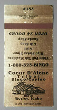 Coeur D'Alene Tribal Bingo/Casino - Worley, Idaho Matchbook Cover