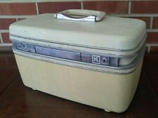 Vintage Samsonite Silhouette White Cream Train Travel Makeup Case Shabby Luggage