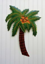 """22"""" PALM TREE WITH COCONUTS HANGING  OUTDOOR  METAL HAITIAN WALL ART TIKI DECOR"""