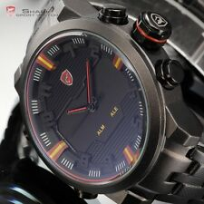 SHARK LED Date Black Red Quartz Stainless Steel Men Analog Wrist Sport Watch