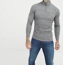 ASOS DESIGN Muscle Fit Ribbed Half Zip jumper In Grey Twist - Size XXS , BNWT