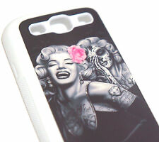 for Samsung Galaxy S3 / SIII -Pink Rose Marilyn Monroe Skull Art Hard Gummy Case