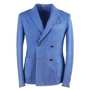 RODA Slim-Fit Sky Blue Knit Cotton Double-Breasted Sport Coat 38 (Eu 48)
