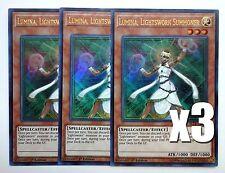 YuGiOh, 3X, Lumina, Lightsworn Summoner, BLLR-EN038, Ultra Rare, New, Mint