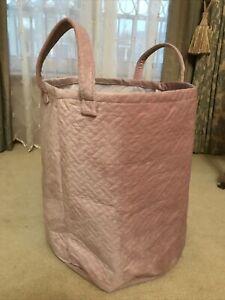 Pink Velvet Laundry Storage Toy Basket Holder