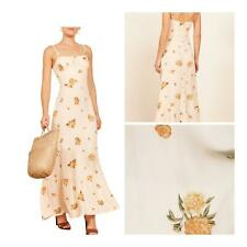 Reformation Prairie Maxi Dress Floral Print Ruffle Constance 12 Yellow Ivory