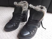 Firetrap Black High Heel Ankle Boots Faux Fur Trim Lined RRP £110 Size 7 UK  VGC