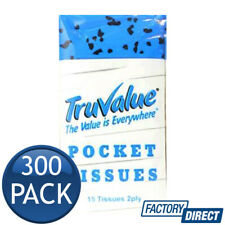 300 x TRUVALUE TISSUES 2 PLY POCKET WHITE SHEETS EVERYDAY TRAVEL PK10 4500 PLY
