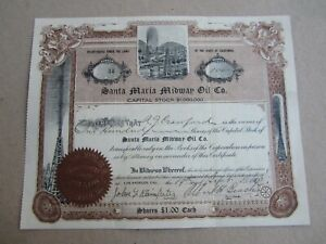 Old 1910 - SANTA MARIA MIDWAY OIL - Stock Certificate - Los Angeles CALIFORNIA