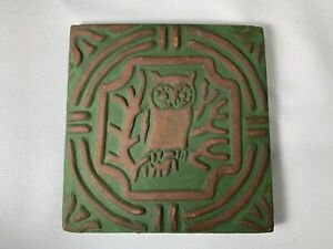 Red Clay OWL Tile Pottery Trivet  SIGNED - 1966