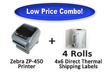 Zebra ZP450 Thermal Label Printer (Brand New) + 1,000 4x6 Direct Thermal Labels