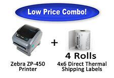 Zebra ZP450 Thermal Label Printer (Brand New) + 1,000 4x6 Direct Thermal Labels