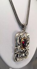 ISRAEL STERLING SILVER 925 CABOCHON AMYTHEST SCULPTED NECKLACE YIGAL AVINOAM EUC