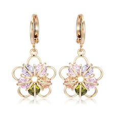 Fashion Girls Womens Flower dangle Hoop Earrings Yellow Gold Filled Star Crystal
