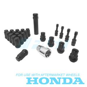 Lug Nuts Spline, Lock Kit, Aluminum Valve Stems   12x1.50 Black   Fits Honda NEW