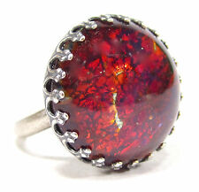 SoHo® Ring vintage altsilber bohemia 60er Jahre handgemachtes Glas red fireopal