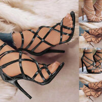 Womens Ladies Solid Open Toe High Heel Ankle Strap Sandals Clubwear Shoes Size