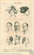 Anthropology Faces Figures Type Male Races Japan Japon GRAVURE OLD PRINT 1858
