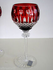 """1 AJKA King Louis RUBY RED cased cut to clear crystal 7 1/2"""" Wine Goblet"""