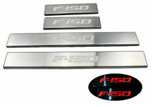 For 2009-2014 Ford F-150 LED light 4 Door Stainless Scuff Plate Door Sill Guard