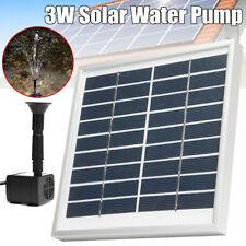 3W Solar Powered Fountain Submersible Water Pump Pond Kit Power Garden Panel
