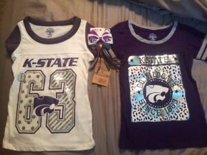 2 Girls Kansas State Wildcat Shirts And Hair Bow (shirts Size XS 4-5)