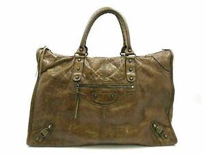 Authentic BALENCIAGA Editors Bag Hand Bag 156541 Leather Brown 90487