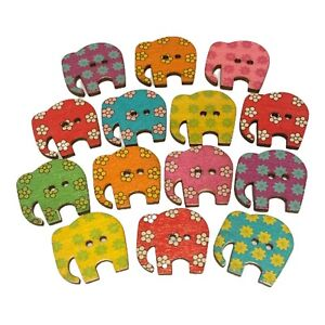 20 LARGE WOODEN RUSTIC ELEPHANT BUTTONS - CRAFT - SCRAPBOOK - SEW - CARDMAKING