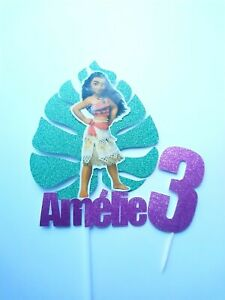 Personalised Moana on a Tropical Leaf Cake Decoration Topper