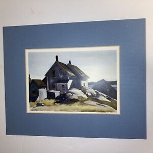 Edward Hopper Print Watercolor Blue Matted Picture
