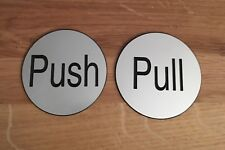 Engraved silver Push And Pull Door Signs Self adhesive
