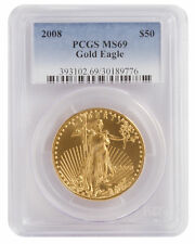 2008 - $50 1oz Gold American Eagle MS69 PCGS Blue Label