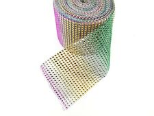 9 Yard 24 Lines Diamante Effect, Rhinestone Mesh Ribbon Multi Colour Trim Craft