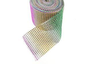 1 Yard 24 Lines Diamante Effect, Rhinestone Mesh Ribbon Multi Colour Trim Craft