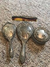 Vintage Silver Plate Vanity Dresser Set 4pcs Mirror Brush Comb Powder Jar
