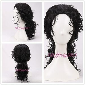 Michael Jackson Black curly medium long Hair Pigtail Wig +a wig cap