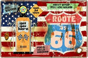 """Vintage Retro Metal Wall Signs """"USA 50's / 60's"""" Route 66,Diner,Popcorn Garage"""