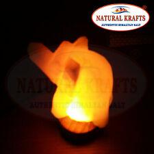 USB HIMALAYAN IONIZING HOLISTIC ROCK WHITE SALT LAMP ON WOOD BASE ELEPHANT SHAPE
