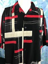 Disco Retro Perruzo Black Mens Camp Shirt Geometric Red White Polyester Large
