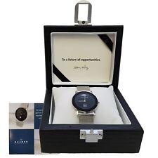 New SKAGEN Ultra Slim BLACK FACED Watch, Wooden Box Case CHEV39LSSB, OEM