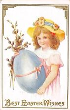Easter~Victorian Lil Girl Holds Exaggerated Blue Egg~Pussy Willow Bouquet~Emboss