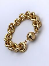 """14kt Yellow Gold Resin Filled """"Milor Italy"""" Puffed Link Chain Bracelet 7"""""""