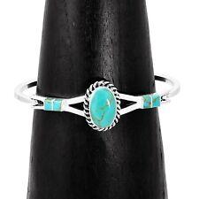 Handmade Southwestern Concho Turquoise Line Cuff Bracelet Taxco Mexico