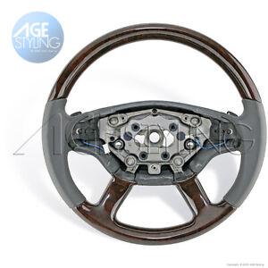 Mercedes-Benz S350S450S500S550S600CL500 Walnut Wood Grey Leather Steering Wheel