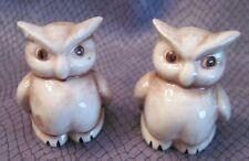 Vtg Owl Miniature Pr Figurines Grey Gray Wash Glaze