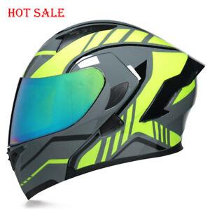 Motorcycle Helmet Full Face Dual Lens Yellow Racing Motcross Flip Up Helmet DOT