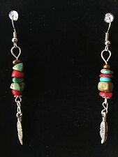 TURQUOISE Coral FEATHER Earrings TURQUOISE Southwestern Cowgirl ISLAND SURFER