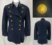 VTG Women's Ralph Lauren Country Navy Dbl Breasted Military Blazer Jacket - Sz 6
