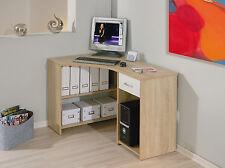 Bureau d´angle meuble informatique console avec rangements décor CHÊNE